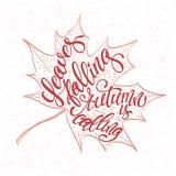 De herfstachtergrond met bladeren het vallen Element van het kalligrafie het grafische ontwerp Stock Afbeeldingen