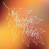 De herfstachtergrond met bladeren het vallen Element van het kalligrafie het grafische ontwerp Stock Foto