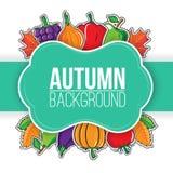 De herfstachtergrond met groenten en vruchten Royalty-vrije Stock Afbeeldingen