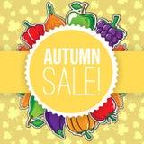 De herfstachtergrond met groenten en vruchten Stock Foto