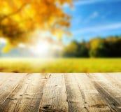 De herfstachtergrond met houten planken Stock Foto