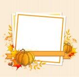De herfstachtergrond met pompoenen en esdoornbladeren stock illustratie