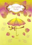 De herfstachtergrond met u van de lintenbladeren van etiketbogen Royalty-vrije Stock Foto's