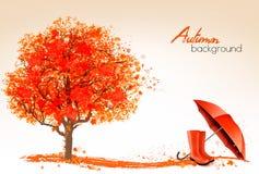 De herfstbanners met bomen en paraplu royalty-vrije illustratie