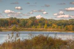 De herfstbeeld van een vijver royalty-vrije stock afbeeldingen