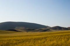 de herfstbergen, met gras tijdens de zomer wordt gebrand die royalty-vrije stock foto