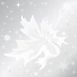 De herfstblad en sneeuwvlok op zilveren achtergrond Stock Foto's