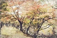 De herfstblad in Nara Park, Japan Digitaal Art Impasto Oil Paintin stock foto
