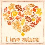 De herfstbladeren in de vorm van hart Royalty-vrije Stock Afbeelding