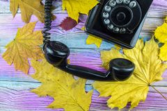 De herfstbladeren en retro telefoonclose-up Stock Afbeelding