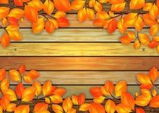 De herfstbladeren met houten achtergrond Royalty-vrije Stock Fotografie