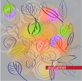 De herfstbladeren op een lichte achtergrond in de beweging Stock Afbeelding