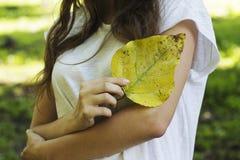De herfstbladeren van de meisjesholding in zijn handen Stock Foto