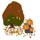 De herfstboom en reuzepompoenen royalty-vrije illustratie