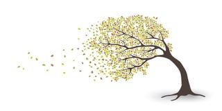 De herfstboom in het onweer stock illustratie