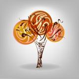 De herfstboom met het vallen onderaan bladeren Vector illustratie autum Stock Afbeelding