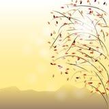 De herfstboom op gele achtergrond Royalty-vrije Stock Foto