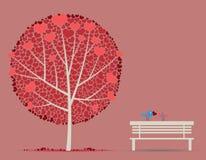 De herfstboom van de liefde met de vogels van de paar in-liefde Stock Foto's
