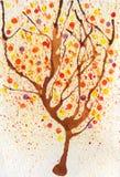 De herfstboom van de waterverf Stock Afbeelding