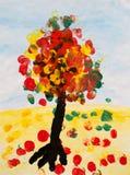 De herfstboom, waterverf het schilderen Royalty-vrije Stock Afbeelding