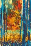 De herfstbos met blauwe bomen in de voorgrond Royalty-vrije Stock Foto's