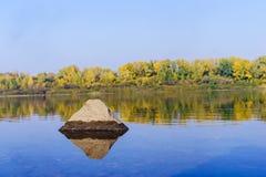 De herfstbos over de rivier Stock Afbeelding