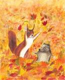 De herfsteekhoorn en egel vector illustratie