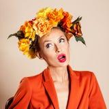 De herfstfoto van jonge vrouw Royalty-vrije Stock Foto