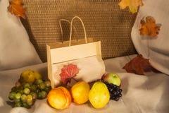 De herfstfruit en een zak met een plaats voor inschrijving Royalty-vrije Stock Foto's