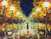 De herfstgang in het park de nacht, lichten, banken, gele bladeren stock illustratie