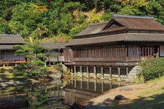 De herfstgebladerte in de Sankeien-Tuin, Yokohama, Kanagawa, Japan Royalty-vrije Stock Fotografie