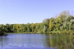 De herfstgebladerte die een kalme blauwe vijver overdenken royalty-vrije stock foto's