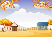 De herfsthuis en tuin met heldere gebladertebomen stock illustratie