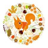 De herfstillustratie, eekhoorn Stock Afbeeldingen