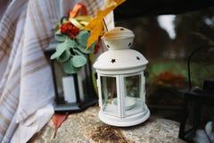 De herfstkaars, als achtergrond Stock Foto