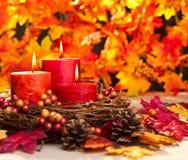 De herfstkaarsen Royalty-vrije Stock Afbeeldingen