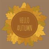De herfstkaart met Bladeren Royalty-vrije Stock Afbeeldingen