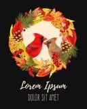 De herfstkaart met bladeren en vogels royalty-vrije illustratie
