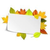 De herfstkaart met gekleurde bladeren op achtergrond Royalty-vrije Stock Foto's