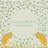 De herfstkader met paraplu onder regen en blad Vector Illustratie
