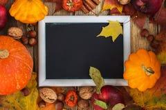 De herfstkader met pompoenen, bladeren, appelen en noten Stock Foto's
