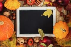 De herfstkader met pompoenen, bladeren, appelen en noten Royalty-vrije Stock Foto's