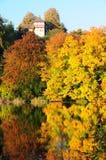 De herfstkleuren die in vijver nadenken Royalty-vrije Stock Afbeeldingen