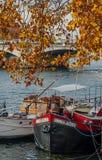 De herfstkleuren op de banken van Parijs Stock Foto