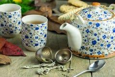 De herfstkop thee met theepot op een rustieke lijst royalty-vrije stock fotografie