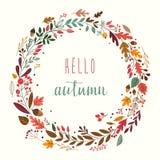 De herfstkroon met herfstinstallaties stock illustratie