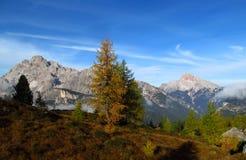 De herfstlandschap in de bergen van Alpen, Marmarole, rotsachtige pieken Stock Foto's