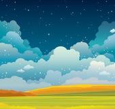 De herfstlandschap en nachthemel vector illustratie