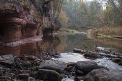 De herfstlandschap en rode steenklip van Amata-rivier, Letland, Europa stock foto's