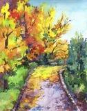 De herfstlandschap - kleurrijke parksteeg met bomen, bladeren en bank royalty-vrije illustratie